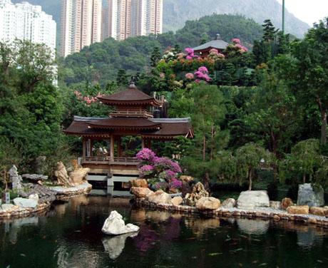 blue pond and pavilion bridge - Nan Lian Garden